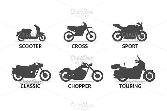 Motorcycle Type And Model Icons Set Motorcycle Types Bike Illustration Icon Set