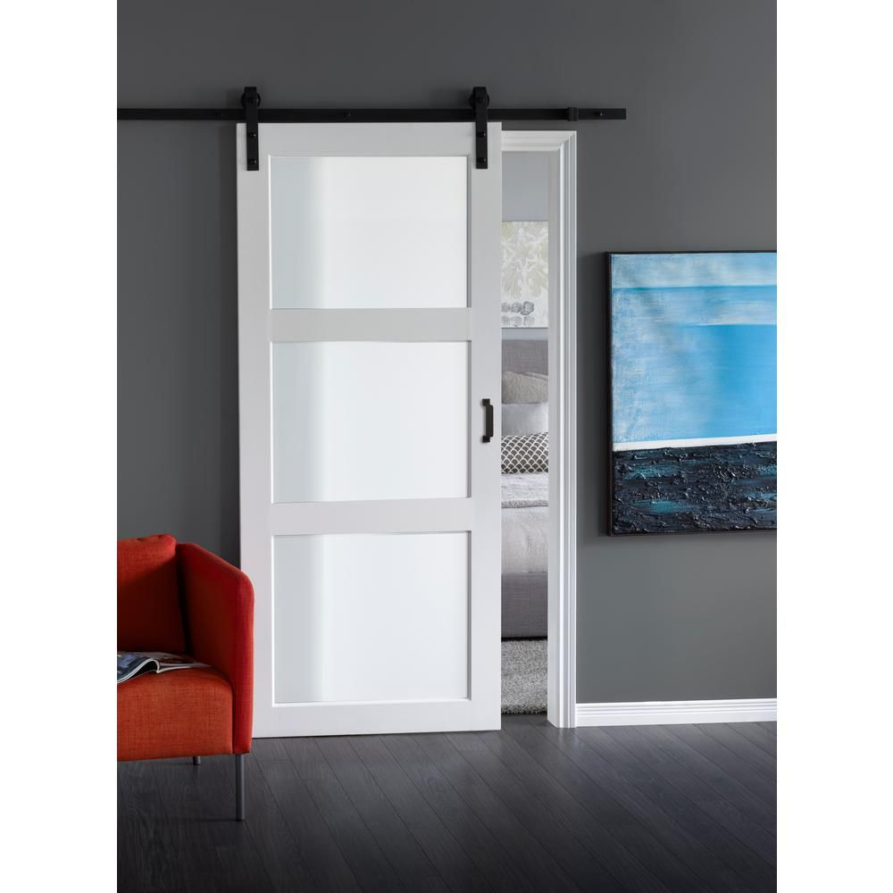 Truporte 36 In X 84 In Bright White Solid Core Frosted 3 Lite Barn Door With Rustic Matte Black Hardware Kit Es61 W1 Bw 3tg The Home Depot Glass Barn Doors Barn Doors Sliding