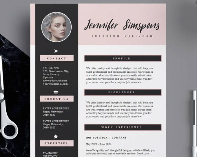 Resume Template Cv Template For Word 4 Pack Social Media Icons The Kate Green Custom Header Us Letter A4 Instant Download Creative Cv Template Resume Template Cv Template