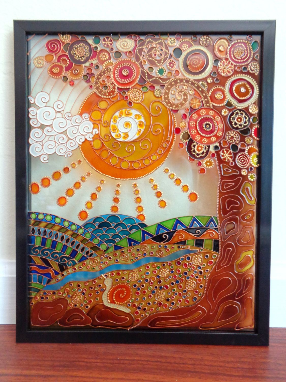 Tree Of Life Painting Glass Glass Painting Designs Glass Painting Patterns Glass Painting