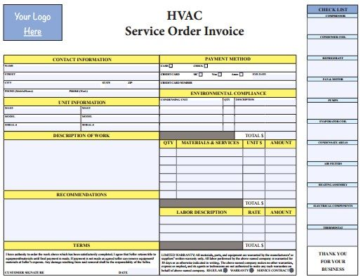 PDF HVAC Invoice Template Free Download HVAC Invoice Templates - Hvac service order invoice template
