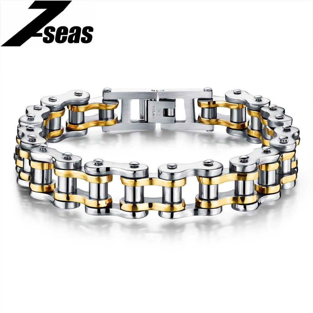 Cool men biker bicycle motorcycle chain bracelet menus jewelry