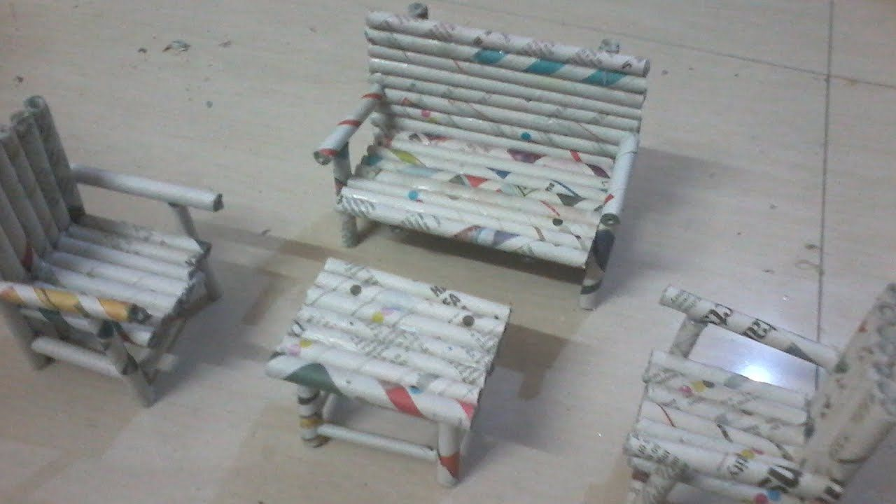 Diy How To Make Sofa Chairs And Teapoy Using News Paper Rolls