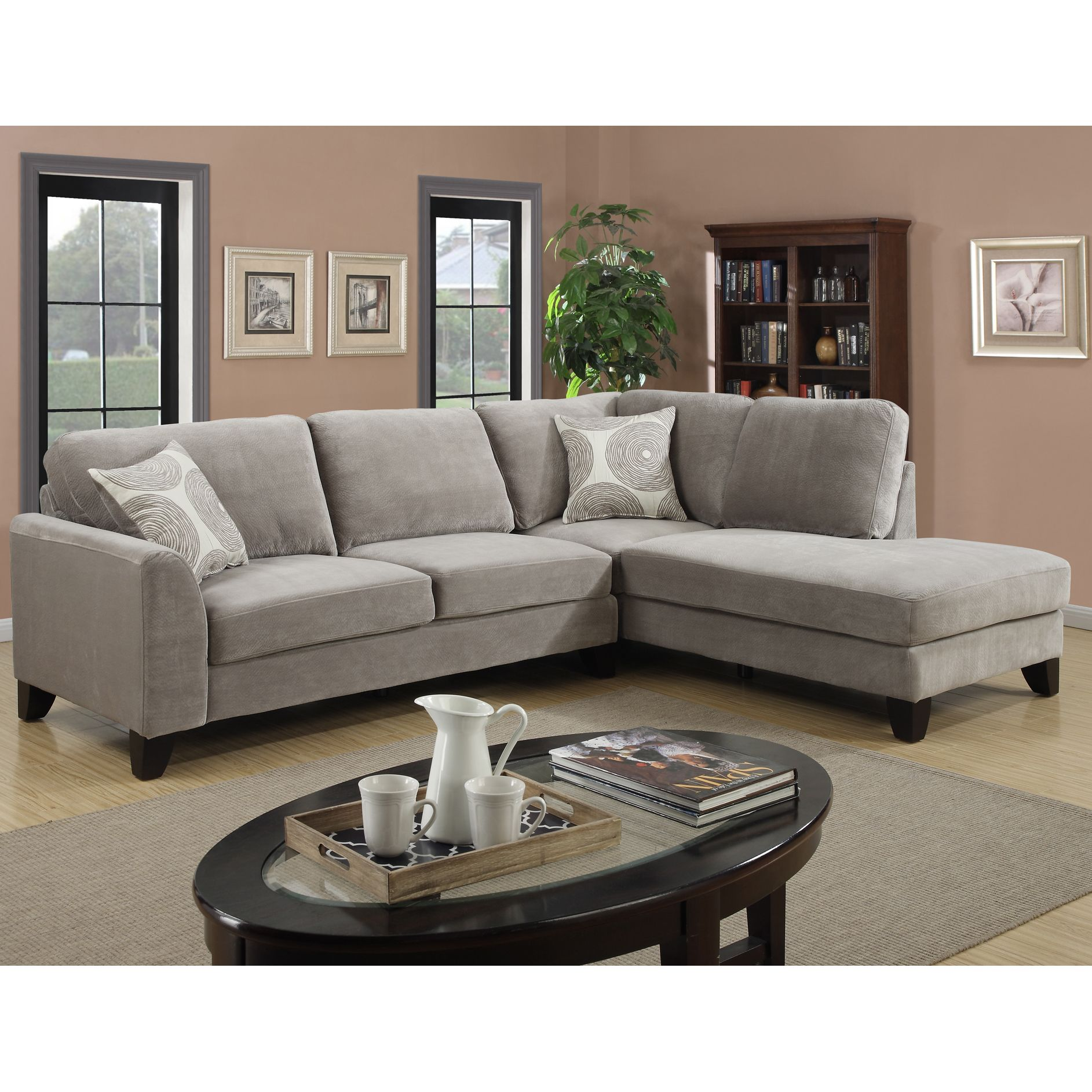 Porter Reese Dove Grey Sectional Sofa with Optional Ottoman by