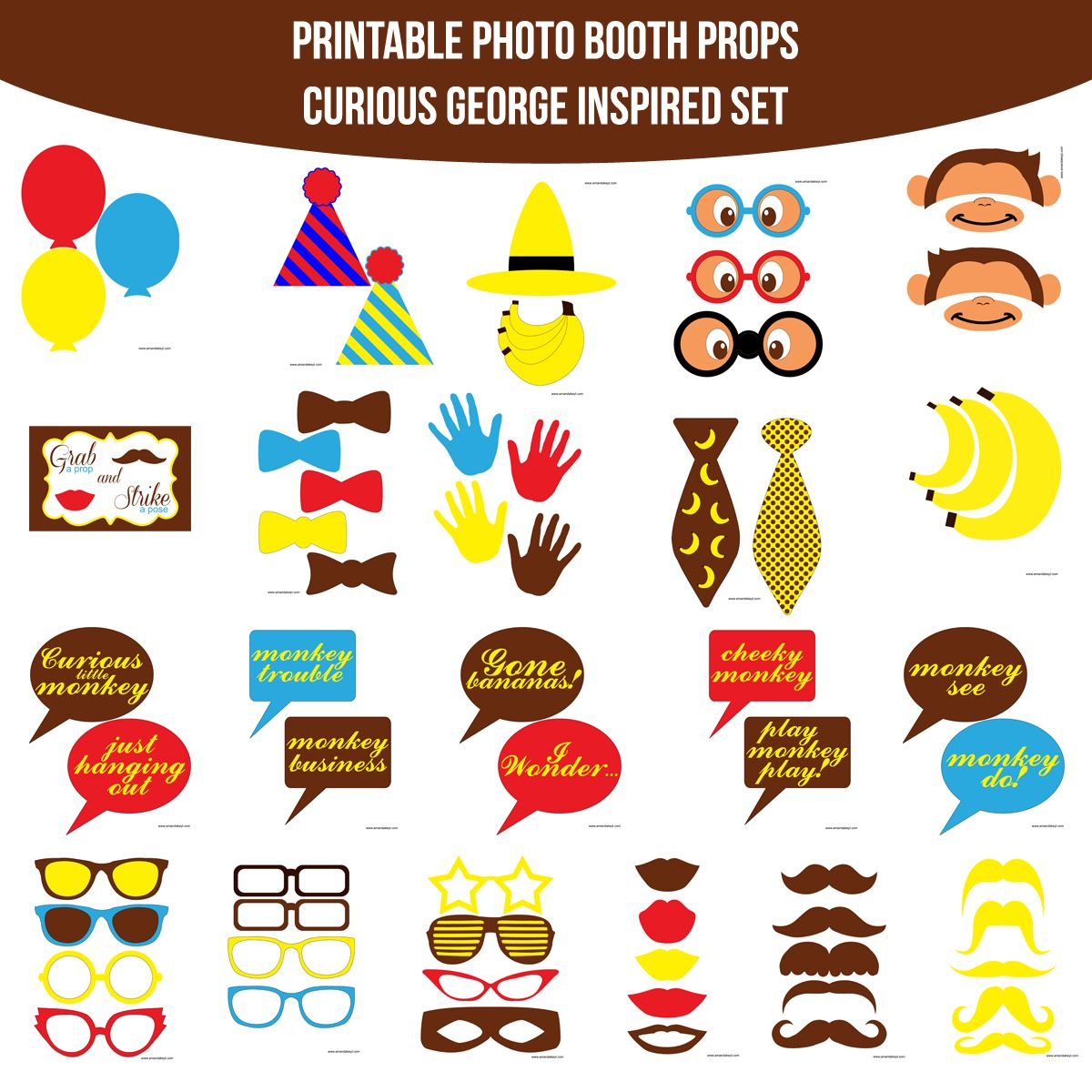 Instant Download Curious George Inspired Printable Photo Booth Prop Set  sc 1 st  Pinterest & Instant Download Curious George Inspired Printable Photo Booth Prop ...