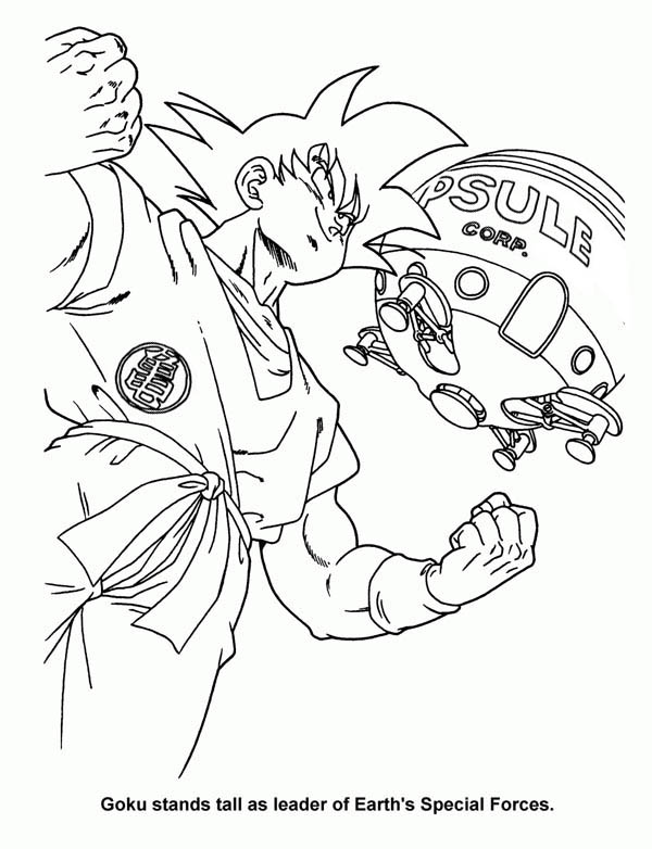 Son Goku And Capsule Corp Ship In Dragon Ball Z Coloring Page Kids Play Color Coloring Pages Detailed Coloring Pages Dragon Ball Z