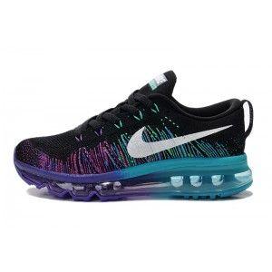 Femmes Nike Chaussures De Course Air Max Flyknit 408c Noir Et Violet