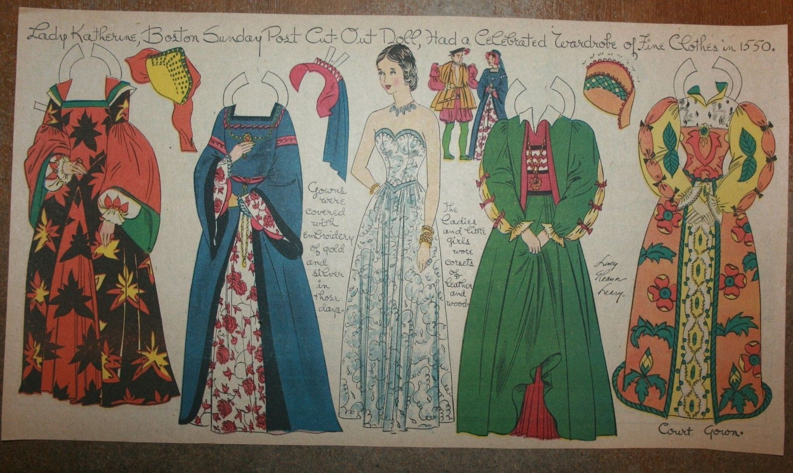 """Lady Katherine from 1550s,"" a paper doll by Lucy Eleanor Leary, #14, Boston Sunday Globe / eBay"