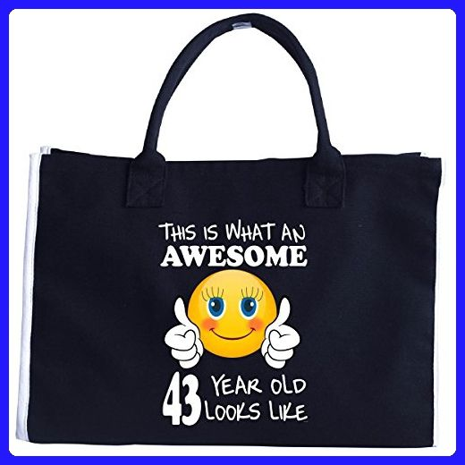 Emoji Birthday 43rd Presents Woman 43 Year Old Gift Tote Bag Totes Partner Link