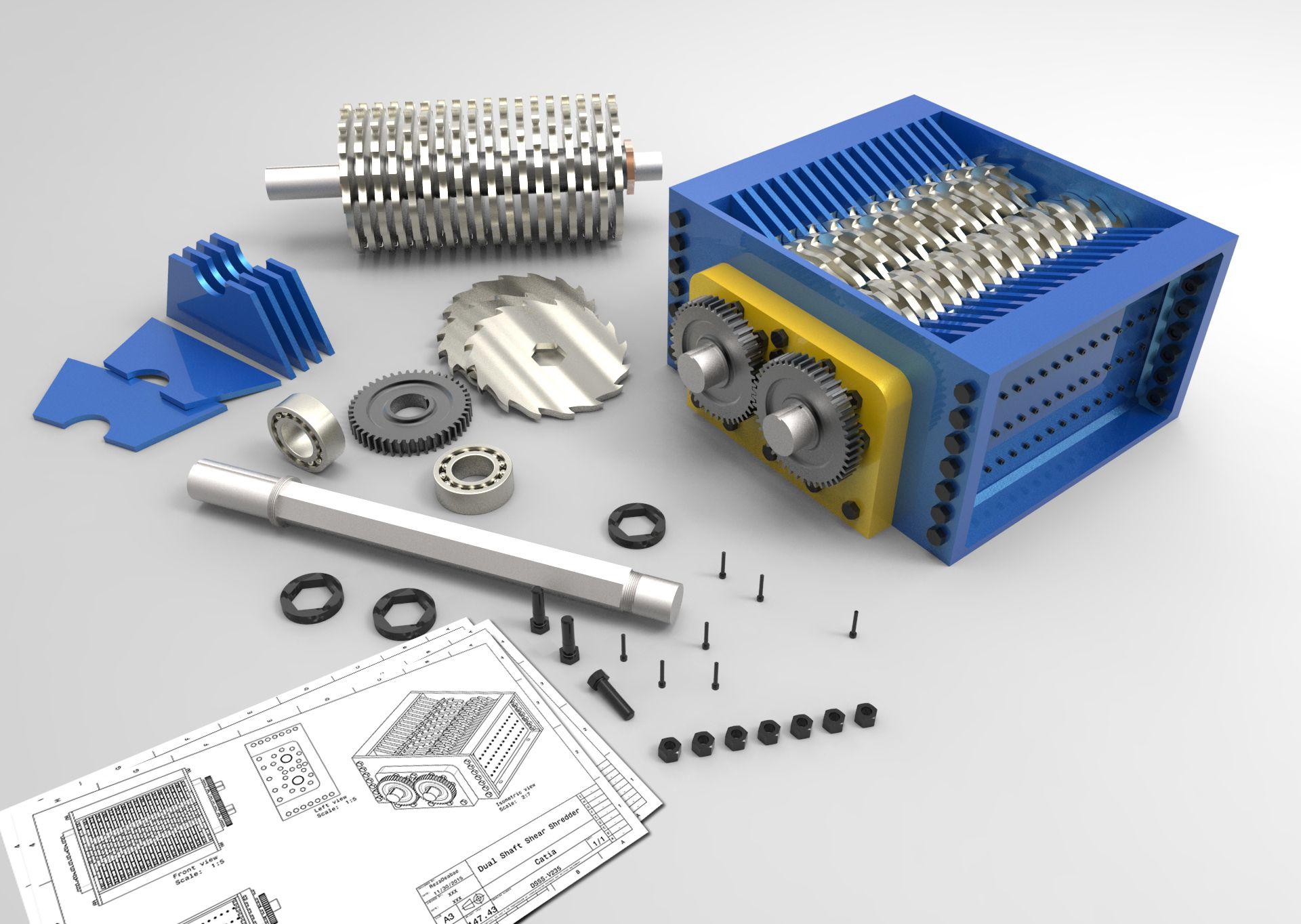 dual shaft shear shredder step iges,solidworks,catia 3d caddual shaft shear shredder step iges,solidworks,catia 3d cad model grabcad