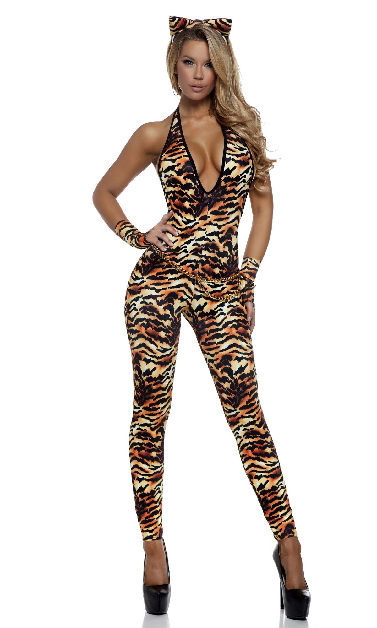 tantalizing tigress woman catsuit halloween costume - Tigress Halloween Costume