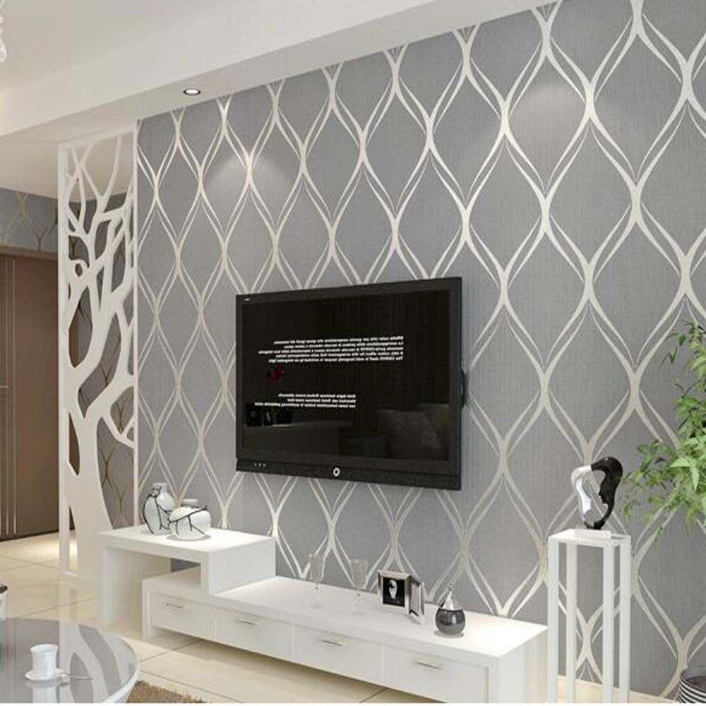 Grey Textured Wallpaper Living Room In 2021 Grey Wallpaper Living Room Living Room Wall Wallpaper Wallpaper Living Room