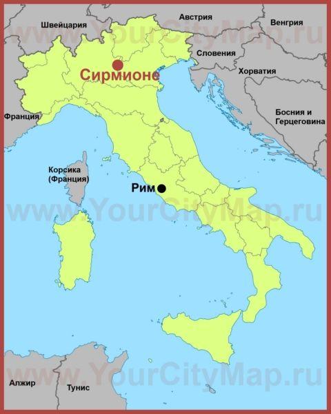 Sirmione Na Karte Italii S Izobrazheniyami Triest Sorrento