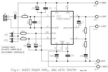 TDA7294 : 60W Power Audio Amplifier Circuit diagram