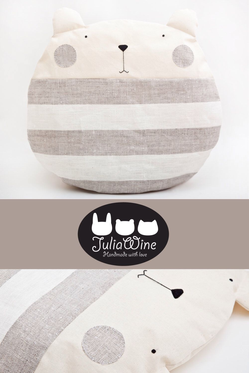 Striped Baby Pillow, Cute Floor Cushion, Bear Pillow, Nursery Decor, Gray Bedding Baby, Gifts for Newborns Housewarming Gift Kids Room Decor #bearbedpillowdolls