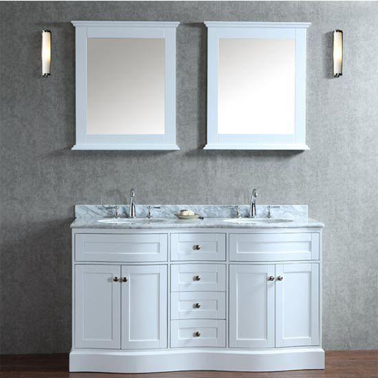 Montauk 42 Single Or 60 Double Sink Bathroom Vanity Set With Mirror In Alpine White By Ari Bathroom Vanity Double Sink Bathroom Vanity Bathroom Sink Vanity