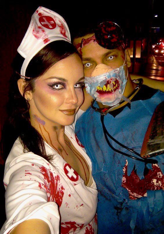 ceeb1bc0cd670 Zombie nurse and surgeon Halloween makeup | Halloween | Zombie nurse ...