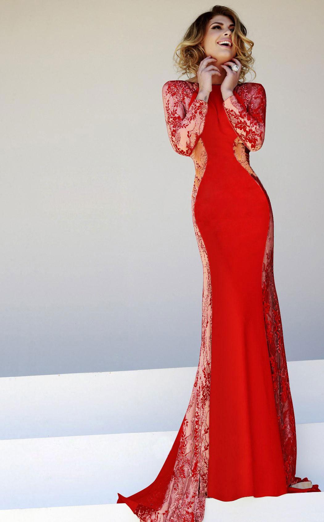Red long sleeve lace slim maxi dress kivi pinterest maxi