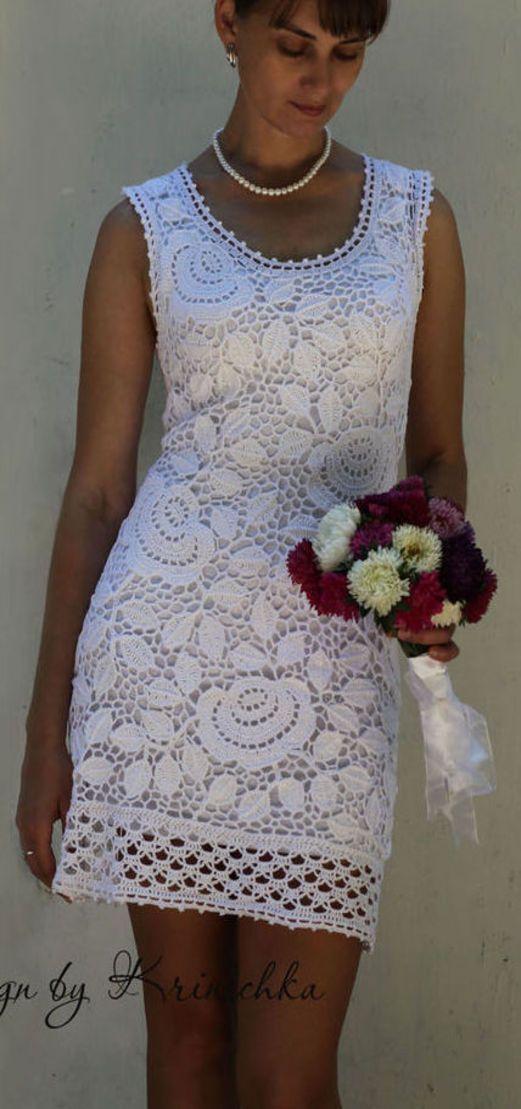 e39e050a5ccf Vestido em crochê irlandês   Vestidos lindos!...   Crochet skirts ...