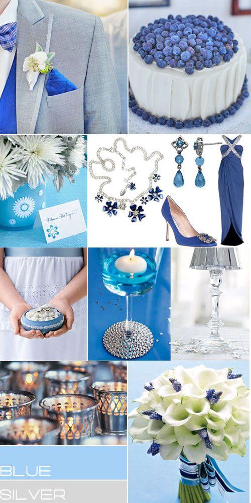 Blue Silver Wedding Colors Palette Royal Blue Grey Wedding