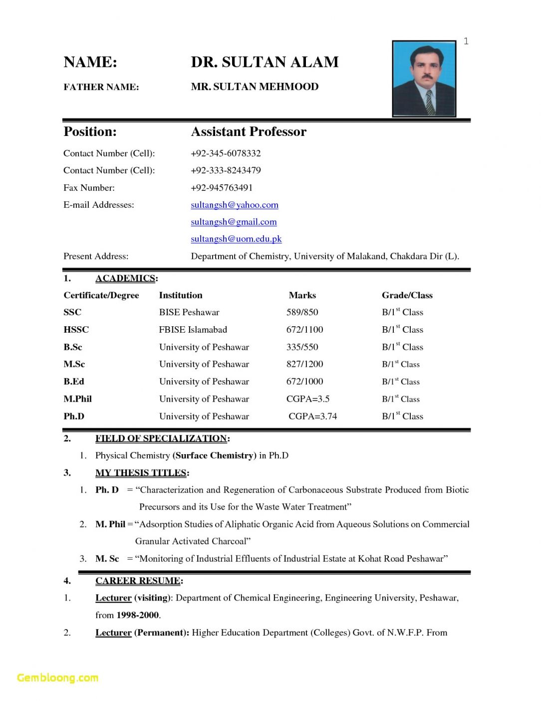 M Phil Resume Format Resume Format Biodata Format Biodata