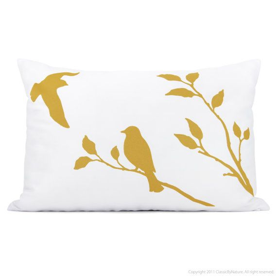 Love Birds Lumbar Pillow Cover Mustard Yellow And White Bird In Nature Print Hand Printed 12x18 Decorative P Bird Pillow Pillows Decorative Pillow Cases