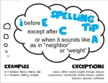 Free spelling worksheets i before e