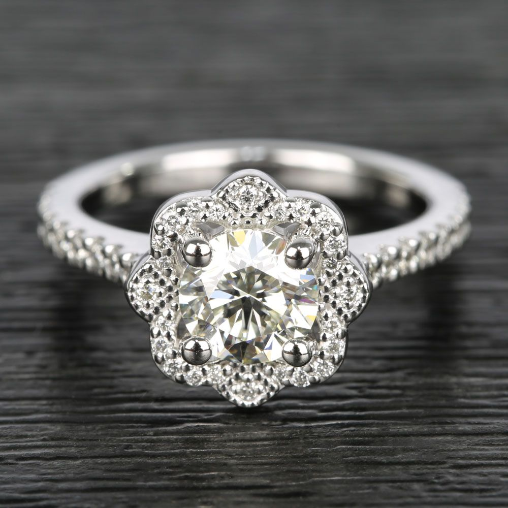 Floral Beaded Halo Diamond Engagement Ring (0.90 ct