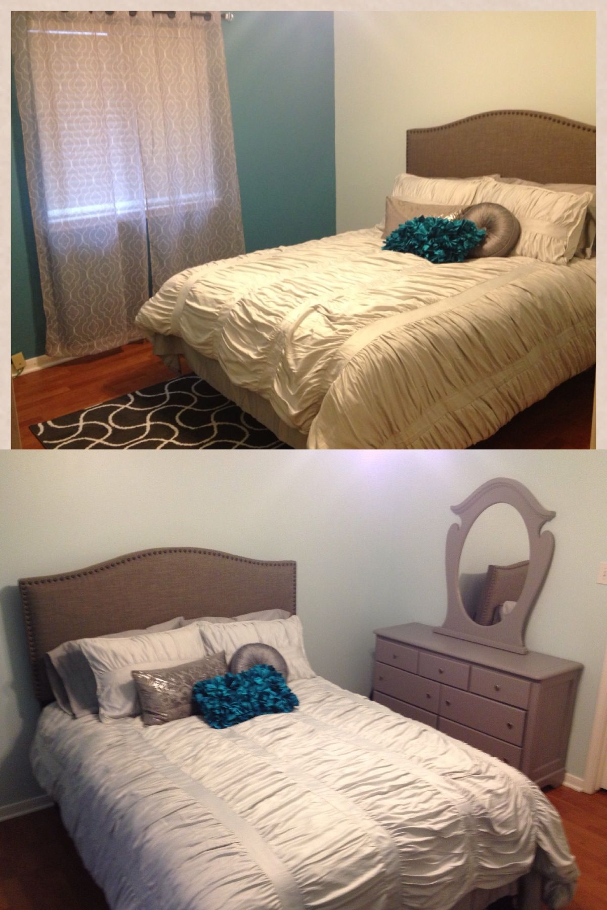 Modern young adult bedroom in turquoise and gray. Young