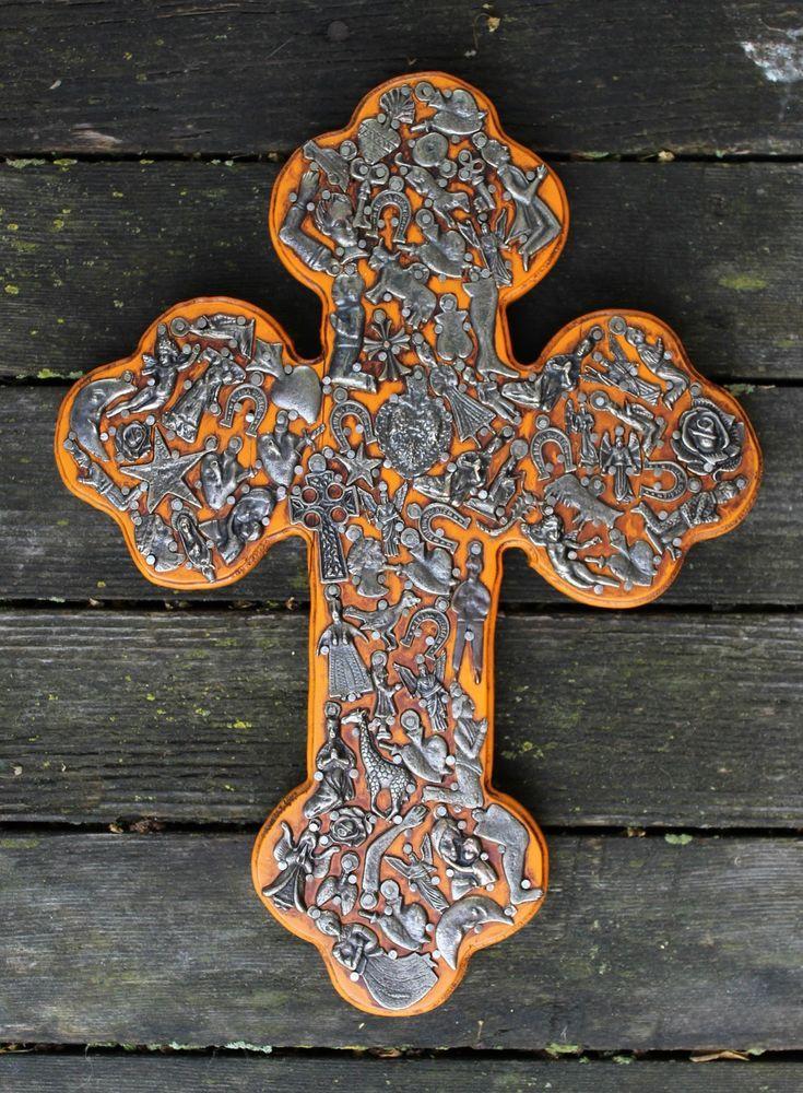 """Budded Cross"" Milagro Covered Wood Cross Mexican Folk Art Michoacán Devotional"