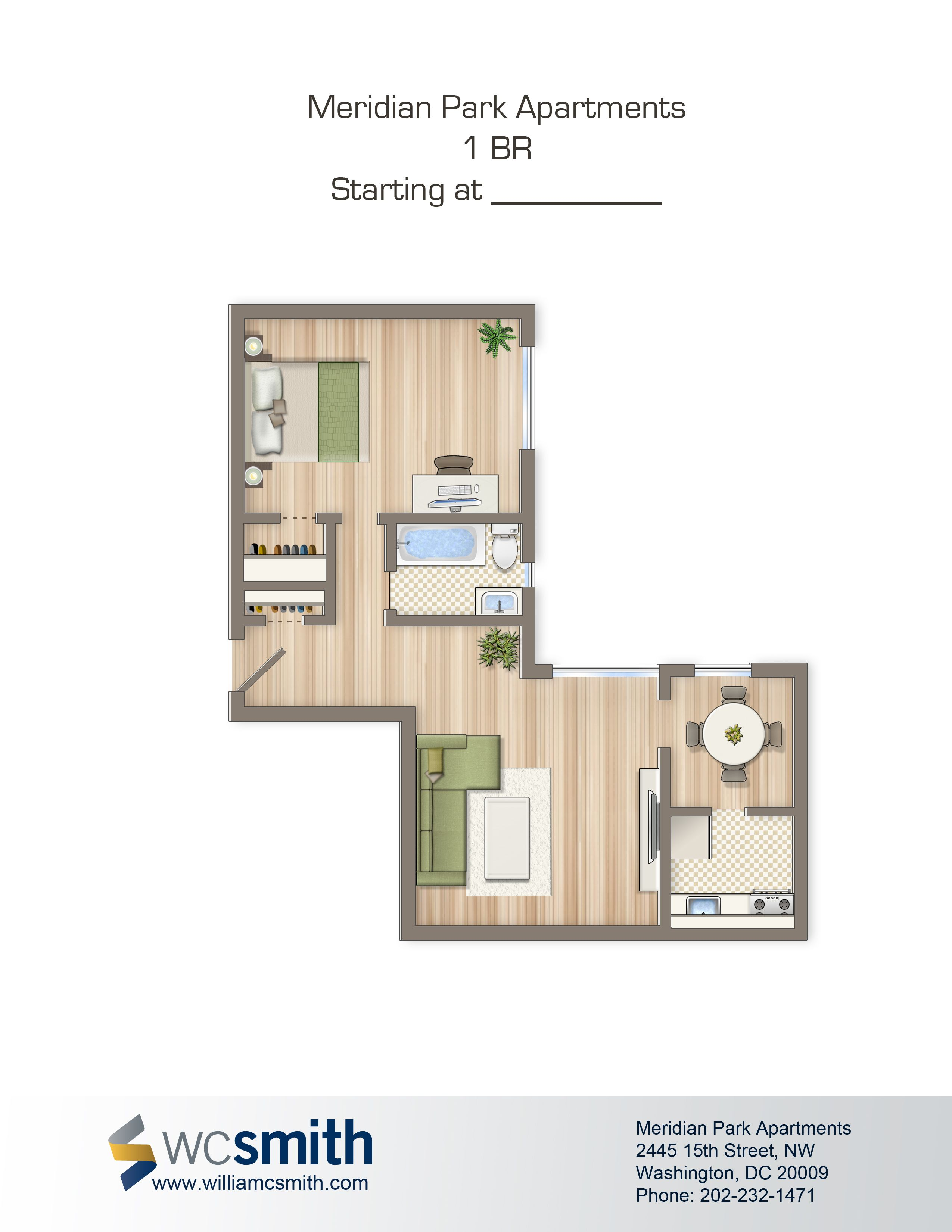 One Bedroom Floor Plan | Meridian Park In Northwest Washington DC | WC  Smith Apartments |