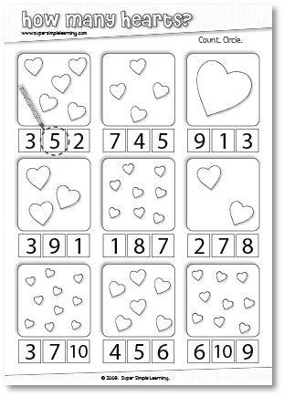 How Many Hearts Counting Worksheet For Preschool Kindergarten Valentines School Preschool Valentines Numbers Preschool
