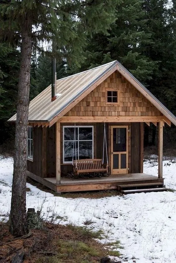 65 Genius Ideas For Your Tiny House Cabin Project In 2020 Small Log Cabin Tiny House Cabin Log Cabin Homes