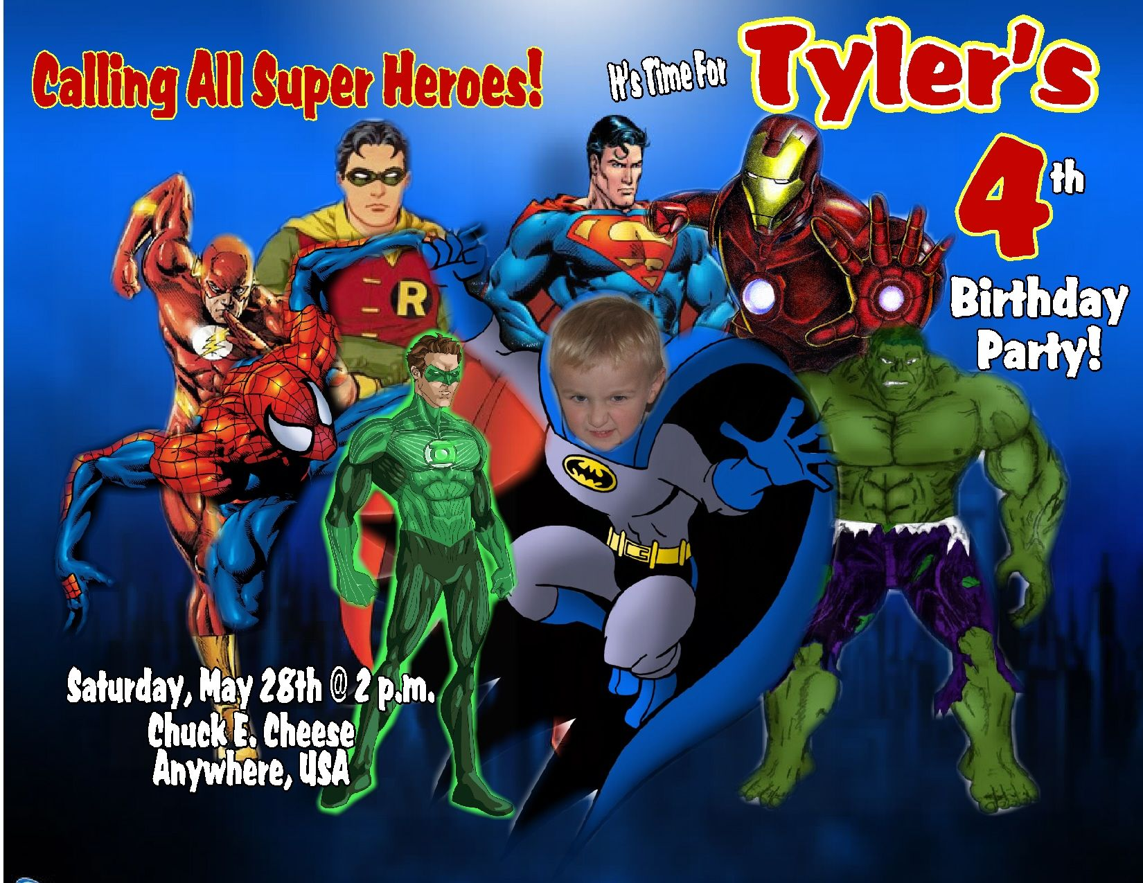 Super Heroes Personalized Birthday Invitations