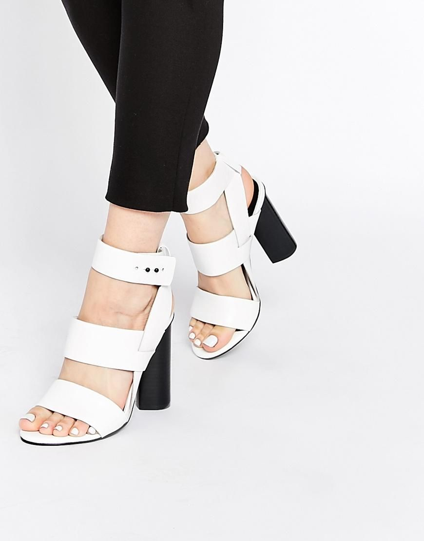 Senso   Senso Xander White Leather Block Heeled Ankle Strap Sandals at ASOS