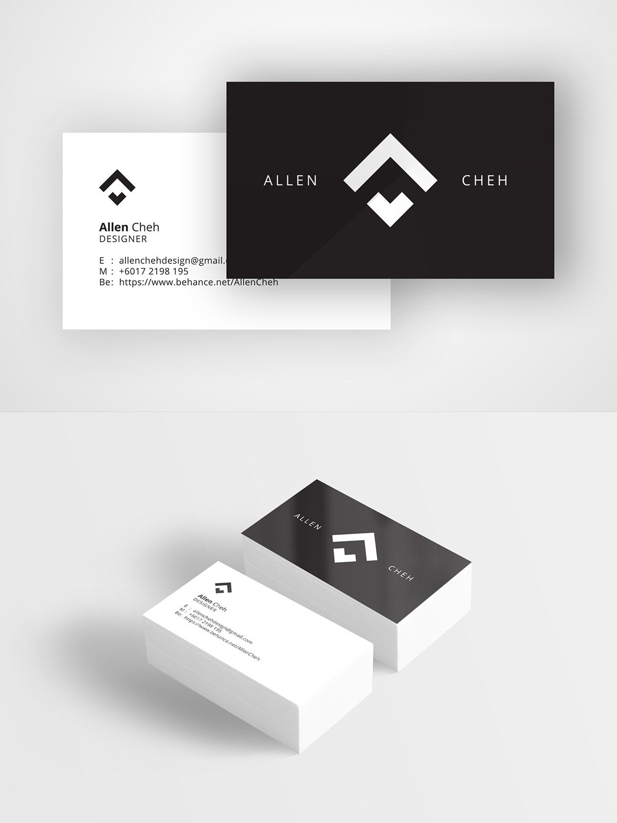 clean and crisp black and white minimalist business card for a