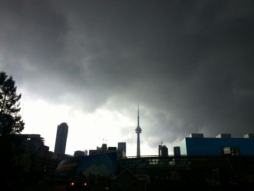 Thunderstorm looming over the CN Tower in Toronto, ON