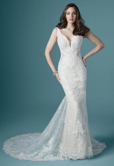 Sleeveless V Neckline Vintage Lace Sheath Wedding Dress Kleinfeld Bridal In 2020 Sheath Wedding Dress Lace Wedding Dresses Kleinfeld Fit And Flare Wedding Dress