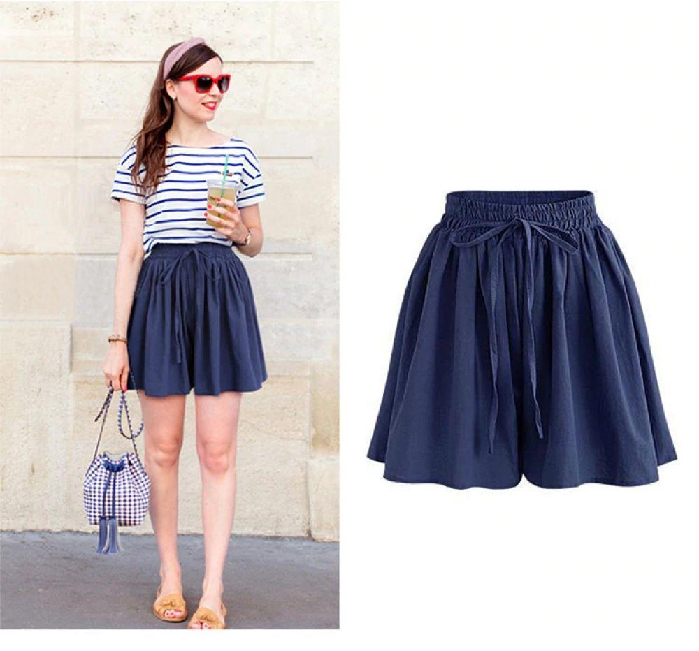 Pantalones cortos holgados muy cómodos de chifón y cintura alta con envío internacional GRATUITO