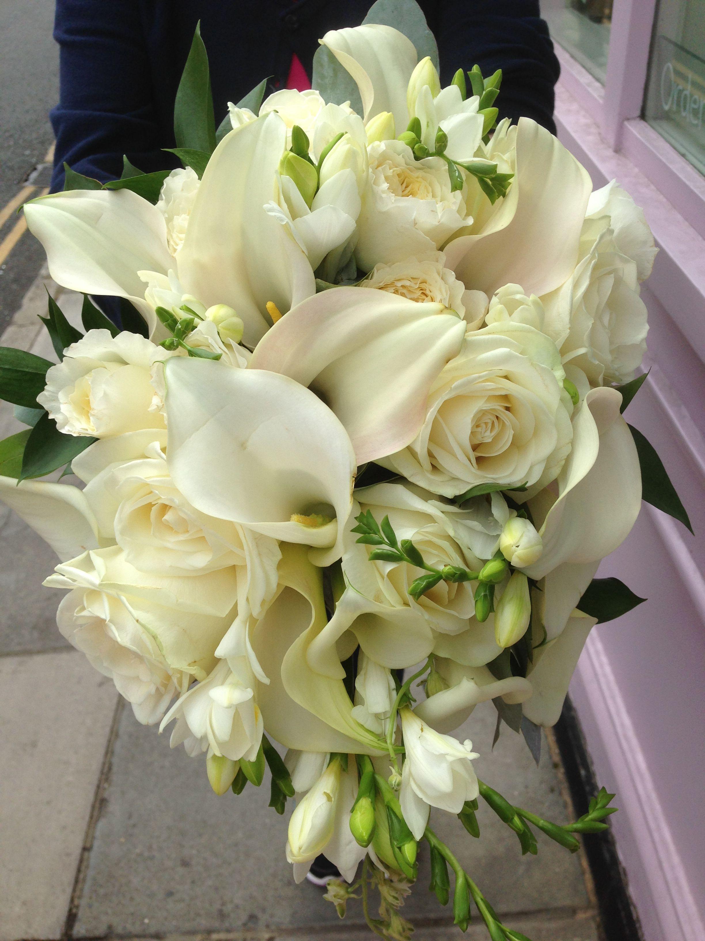 Elegant cream white shower bouquet luxe flowers wedding bouquet elegant cream white shower bouquet white showercream whitecalla lilywedding bouquetsfloristsliliesbridal izmirmasajfo Choice Image