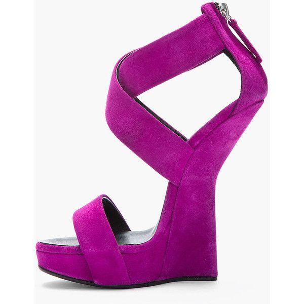 GIUSEPPE ZANOTTI Purple Suede Sculpted Alien Heels ($850) ❤ liked on Polyvore