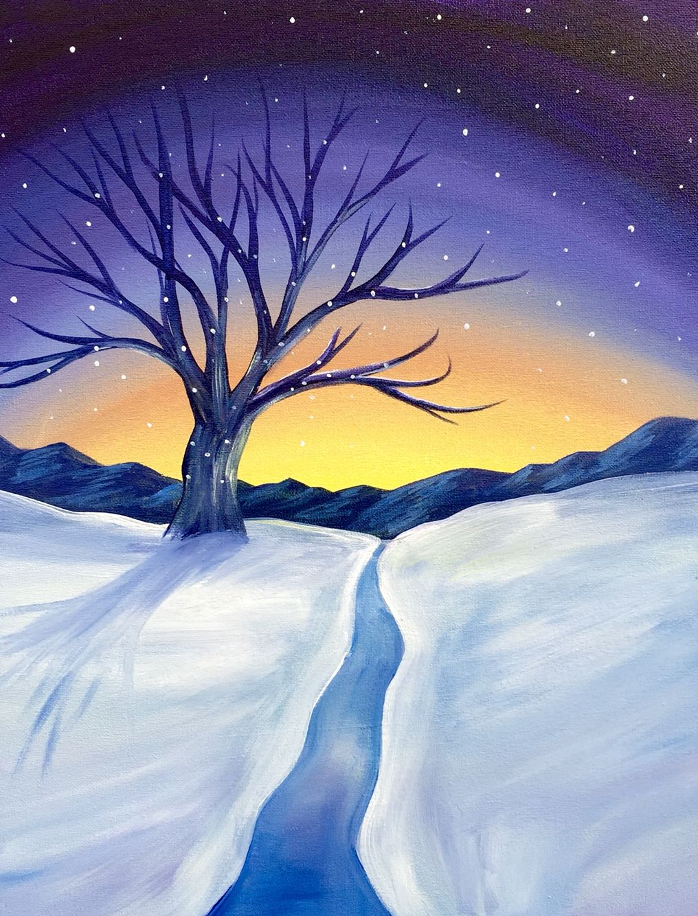 Winter Sunset Paint Nite Paintings- Paid Painting