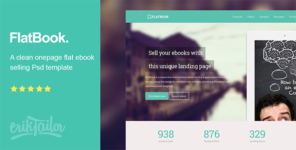 FlatBook - Flat Ebook Selling Psd Template . FlatBook is a clean ...