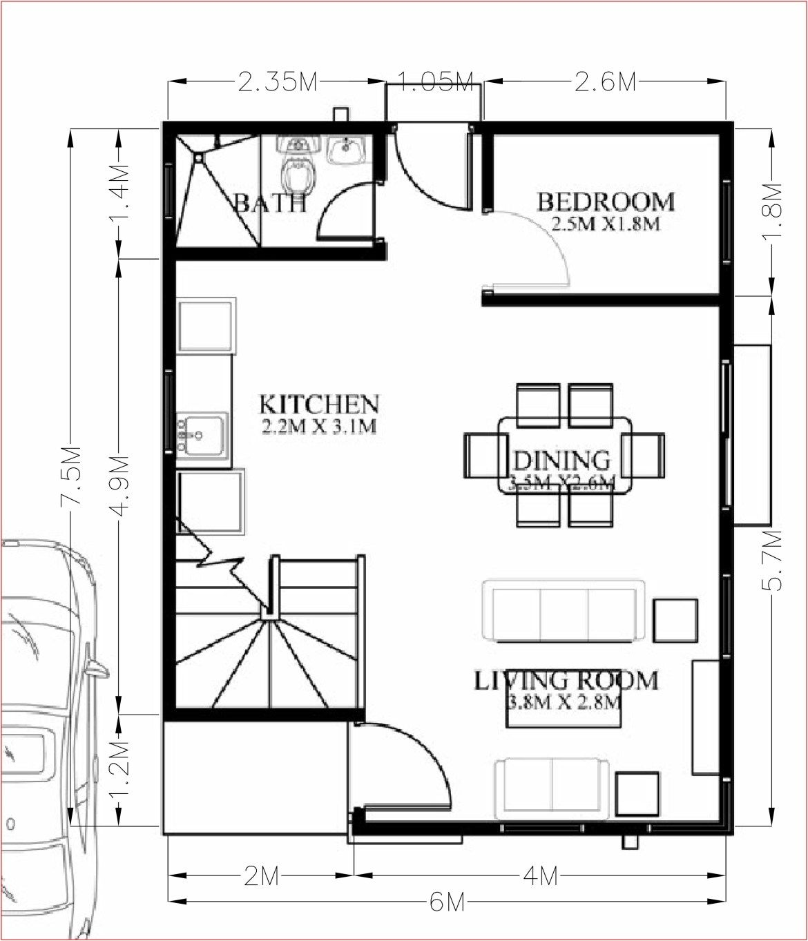 Small Home Design Plan 6x7 5m With 4 Bedrooms Home Planssearch Small House Design Home Design Floor Plans Home Design Plan