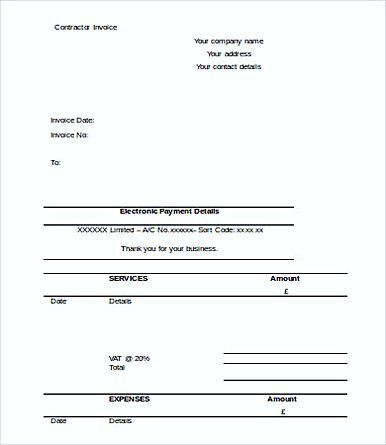 Free Printable Contractor Invoice templates , Free Printable - contractor invoice form