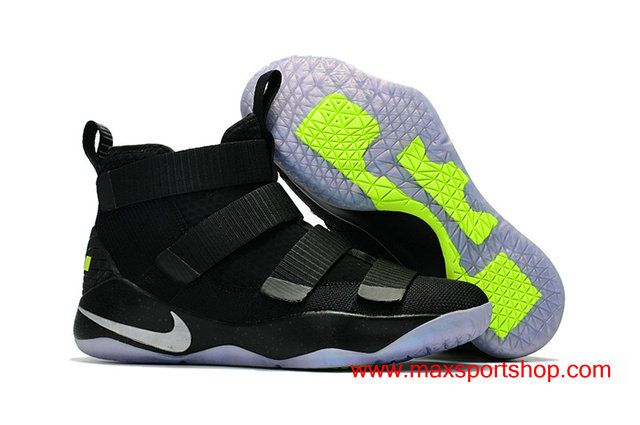 promo code af938 11530 Nike LeBron Soldier XI All Black Ice Green Men s Basketball Shoes  76.00