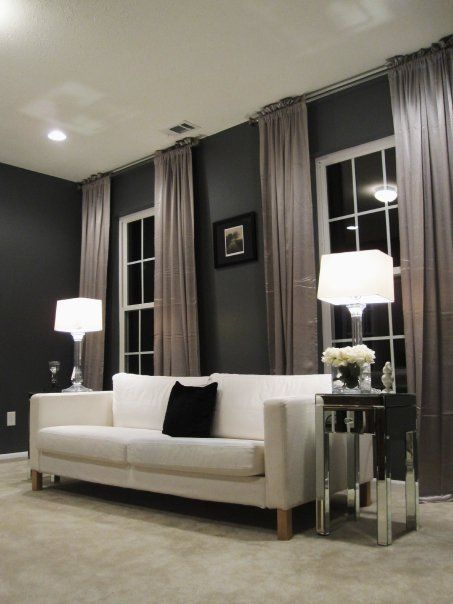 Dark Walls High Curtains Curtains Living Room Dark Walls Living