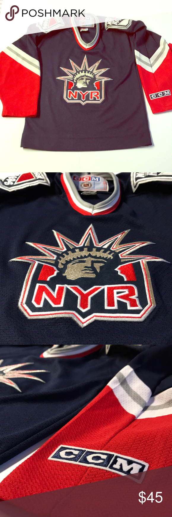 release date a8b79 53aef shop vintage new york rangers lady liberty ccm jersey b7e28 ...