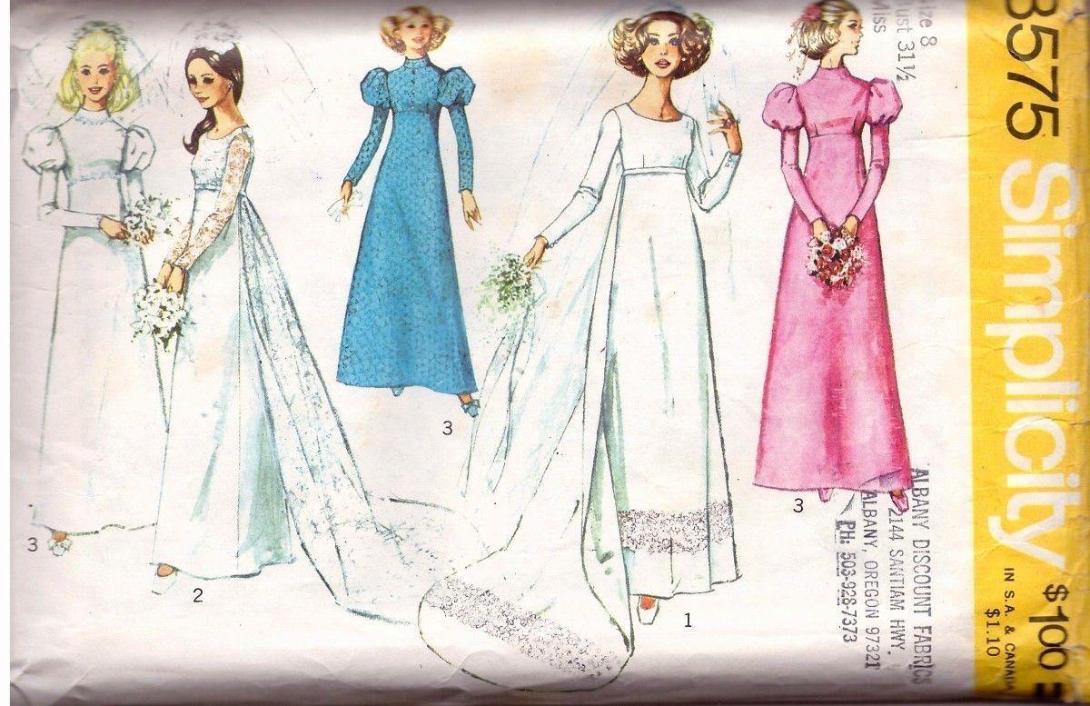 Vintage 1972 Misses' WEDDING GOWN & BRIDESMAID DRESS