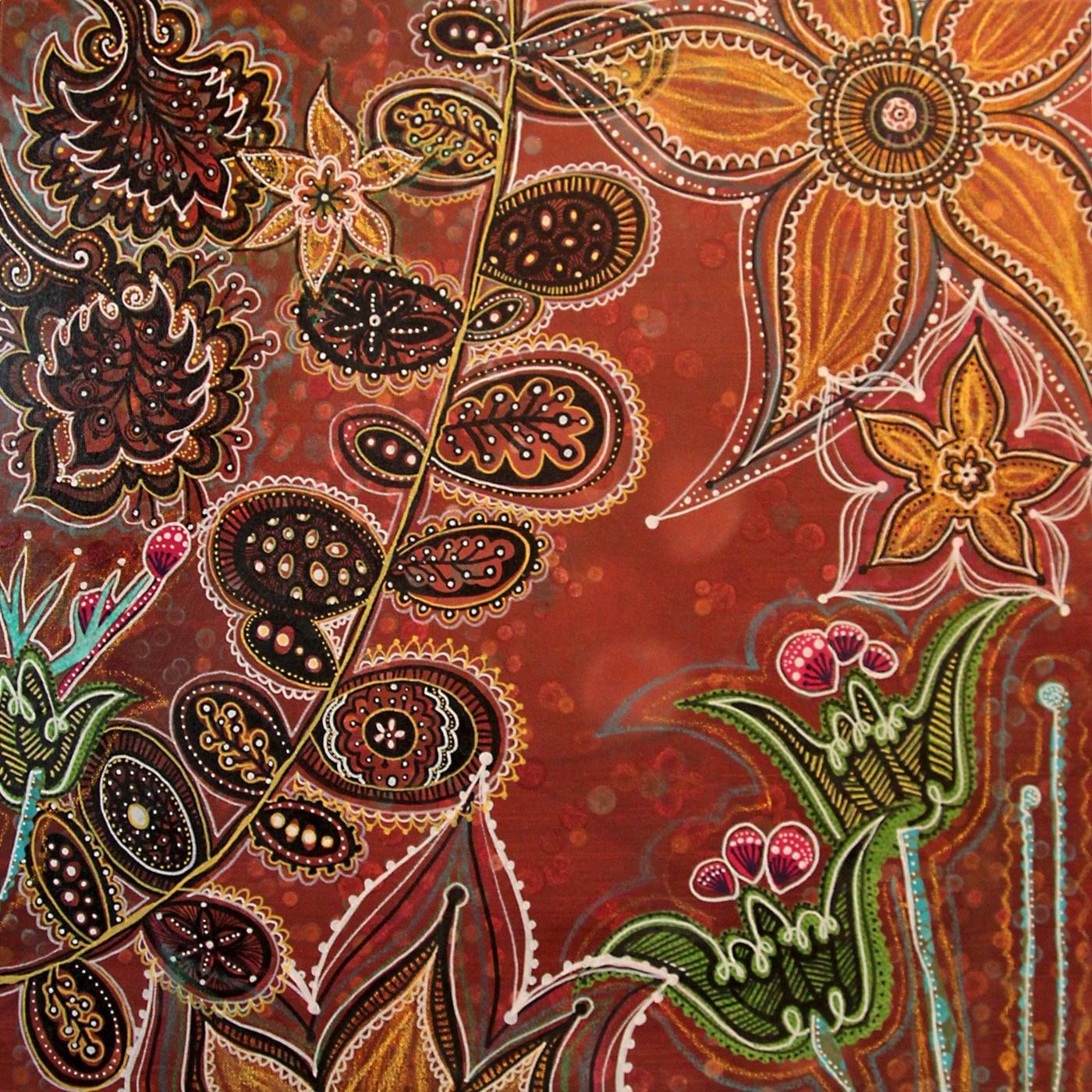 MENDHI GARDEN - $385 – acrylic and fabric on canvas – 24 X 24 X 1.5 ...